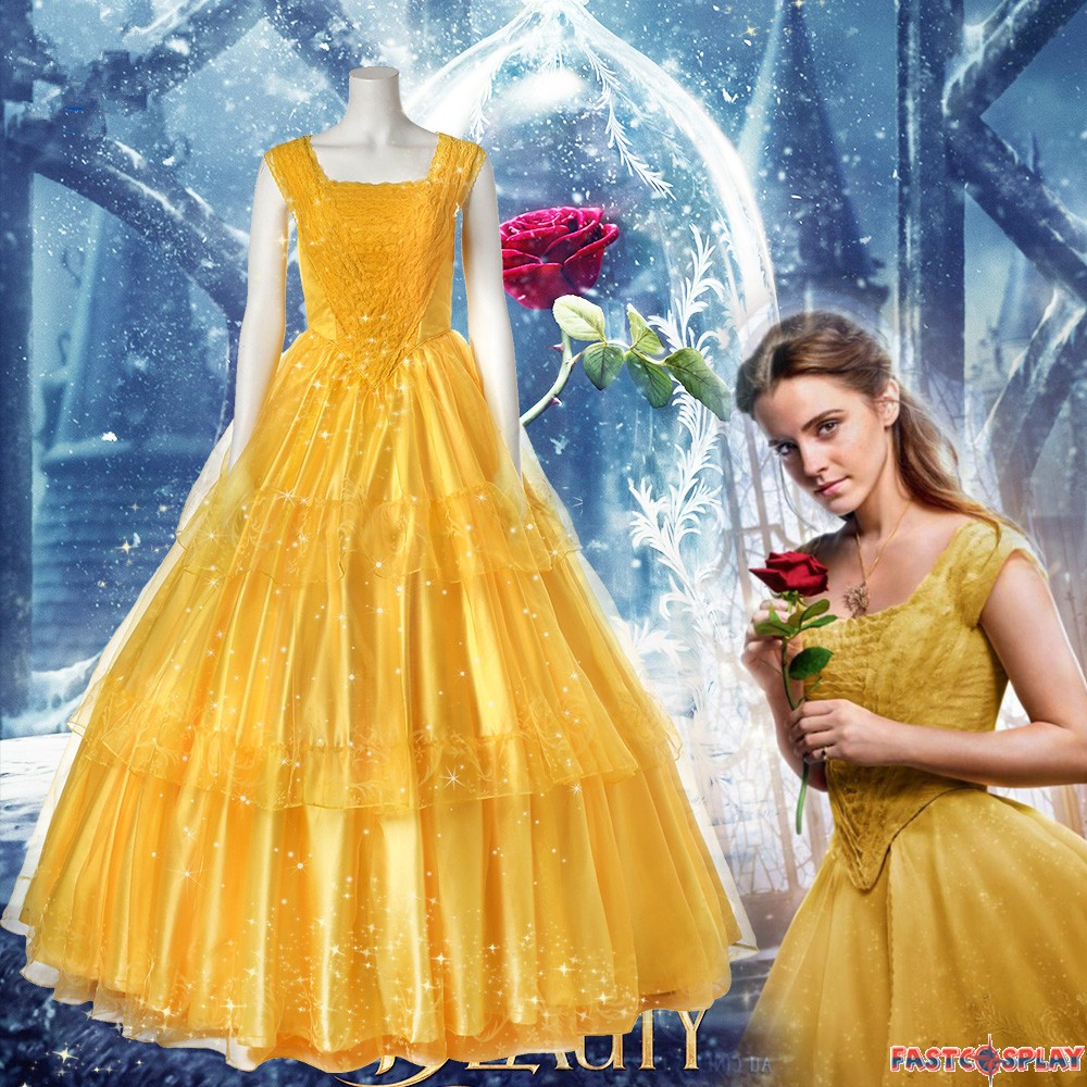 2017 Disney Beauty And The Beast Belle Dress Emma Watson Yellow Deluxe