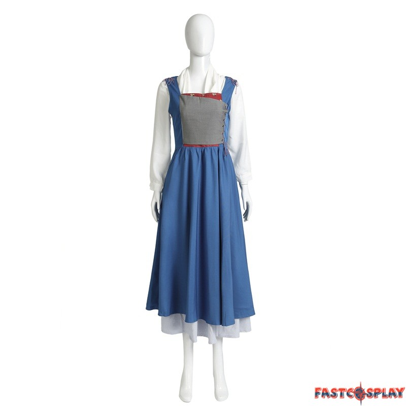 2017 beauty and the beast princess belle blue dress belle