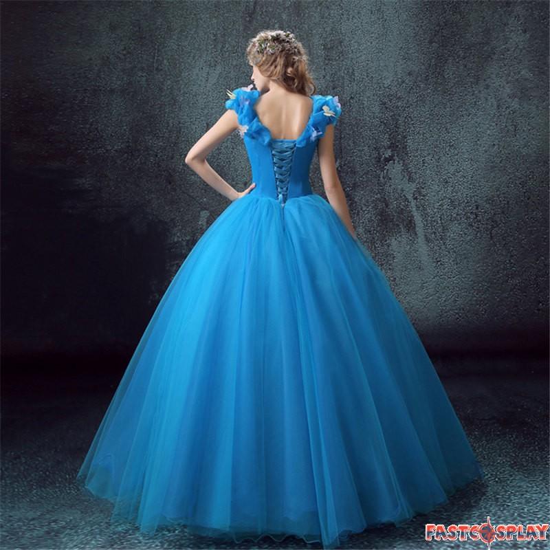 Cinderella live action blue wedding dress cosplay deluxe costume disney cinderella live action blue wedding dress cosplay deluxe costume junglespirit Images