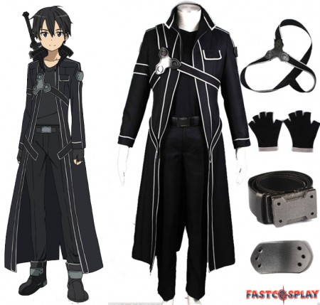 Sword Art Online Kirito Cosplay Costume Kirigaya Kazuto Cosplay Full Set