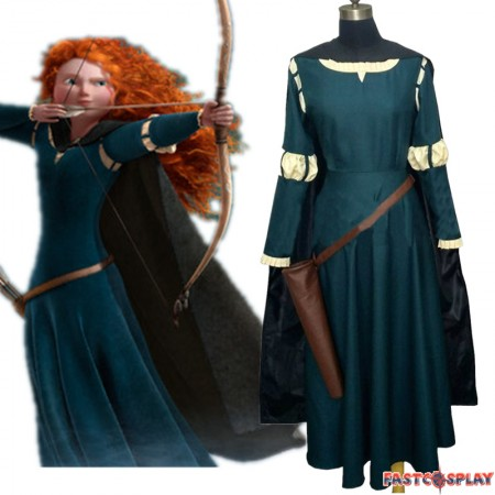 Disney Brave Princess Merida Dress Cosplay Costume Deluxe Gown