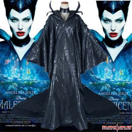 Disney Maleficent Black Witch Dress Cosplay Costume
