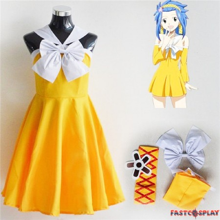 Fairy Tail Levy Mcgarden Yellow Dress Cosplay Costume