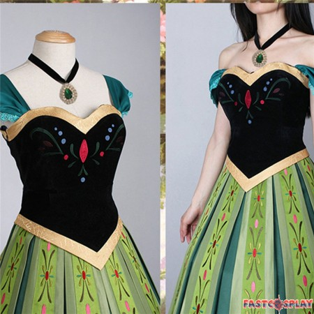 Disney Frozen Anna Coronation Dress Cosplay Deluxe Costume