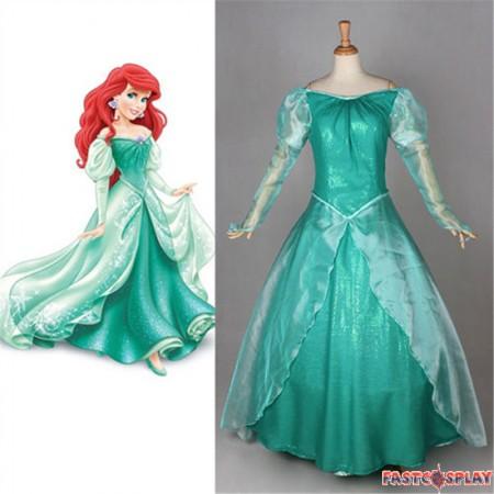 Disney Little Mermaid Ariel Princess Dress Cosplay Deluxe Costume