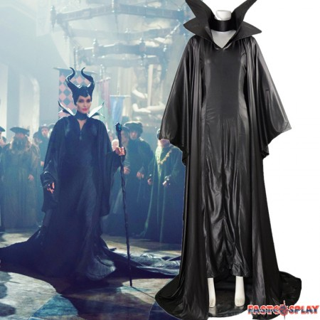 Disney Maleficent Angelina Jolie Black Withch Cloak Dress Cosplay Costume