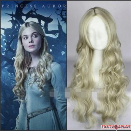 Disney Maleficent Princess Aurora Cosplay Wig Long Wavy Ash Blonde Wig