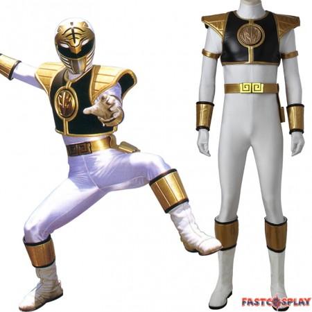 Tyranno Ranger White Ranger Tommy Jumpsuit Cosplay Costume