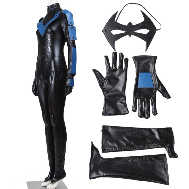 Batman Arkham City Female Nightwing Jumpsuit Cosplay Costumes