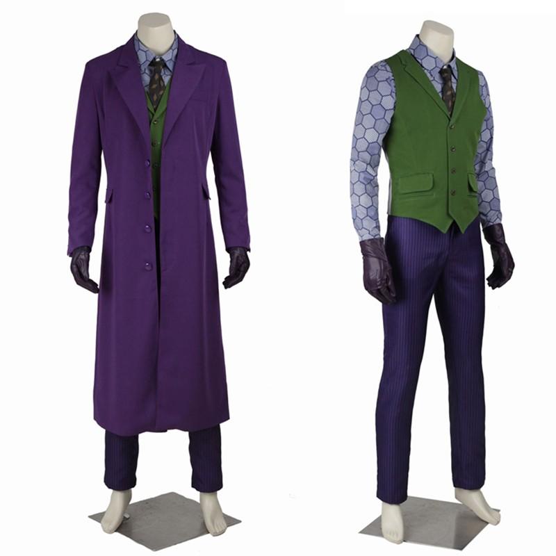 Batman Dark Knight Joker Cosplay Costumes Gabardine Trench Coat Full Set