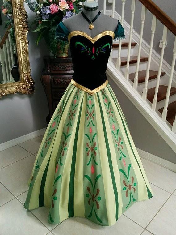 Disney Frozen Anna Coronation Dress Cosplay Deluxe Costume