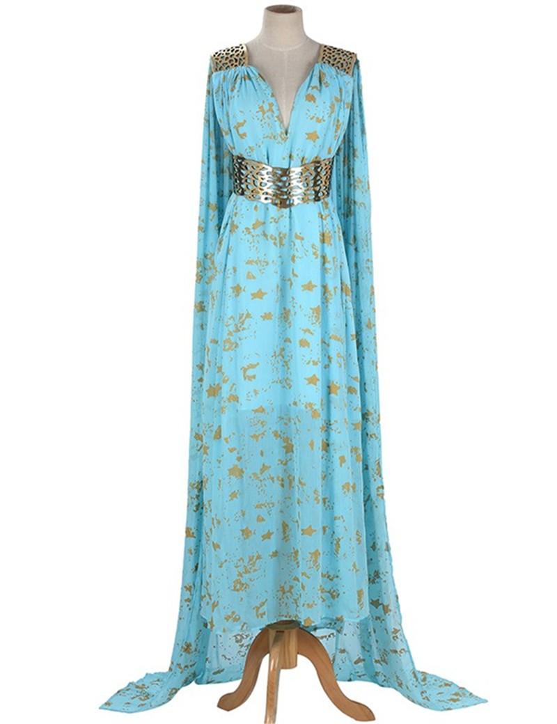 Game Of Thrones Season 2 Daenerys Targaryen Blue Dress Cosplay Costume