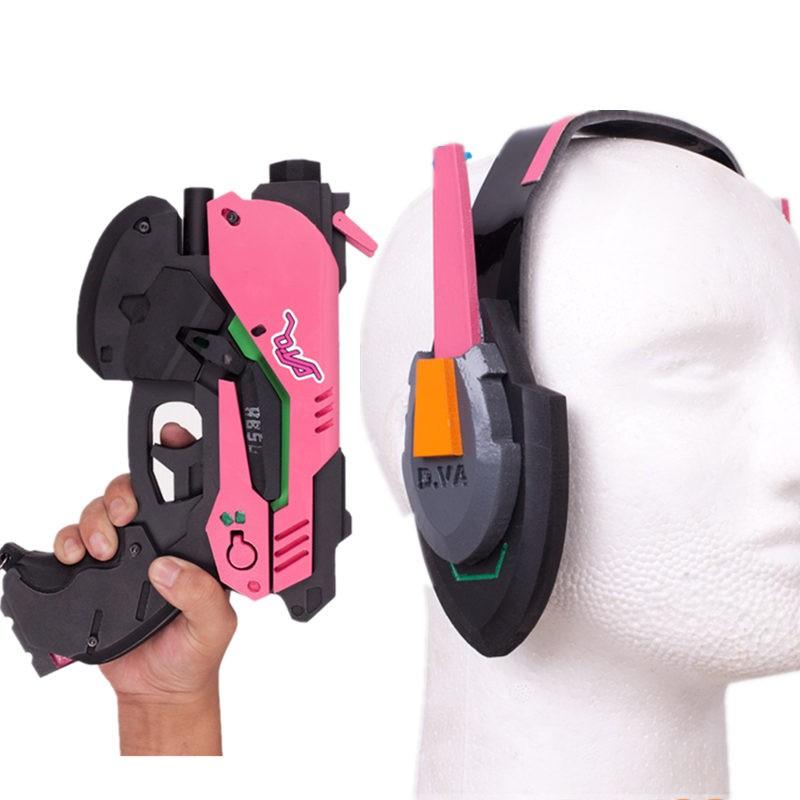 Overwatch D.Va Hana Song Gun Headset Weapon Cosplay Props Set