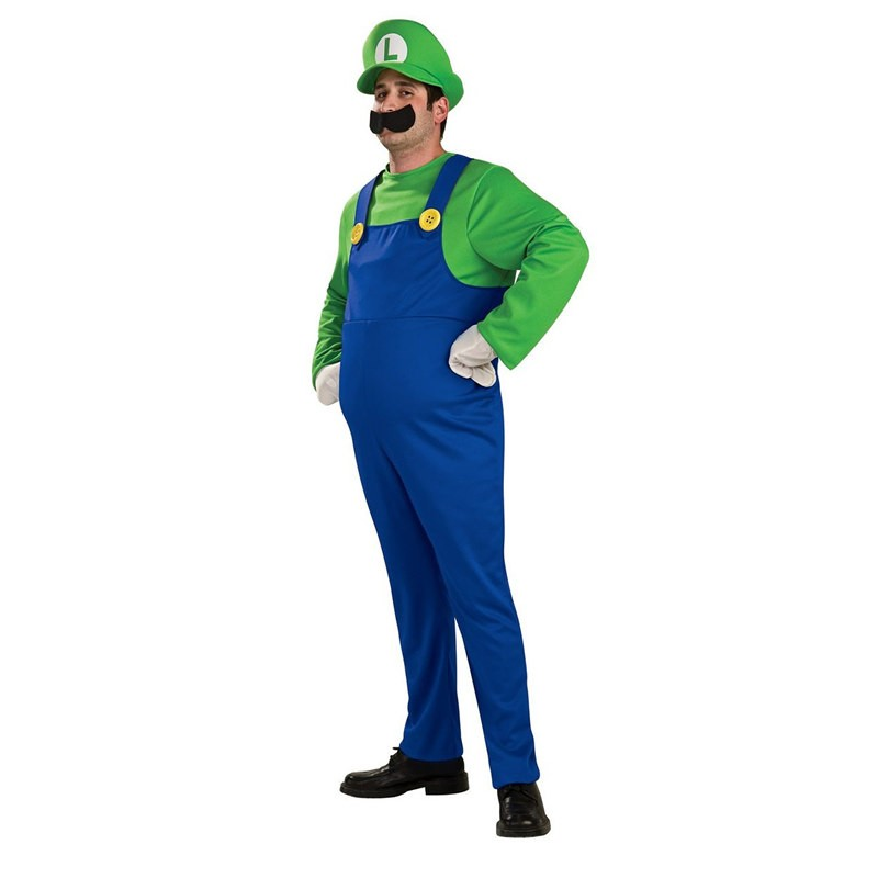 Super Mario Brothers Luigi Mario Adult Cosplay Deluxe Costume