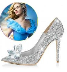 Disney Cinderella Lily Glass Slipper Silver Wedding Shoes Cosplay