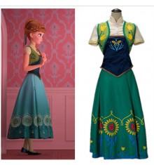 Disney Frozen Fever Anna Dress Costume Cosplay