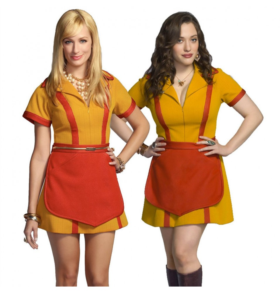 2 Broke Girl Max and Caroline Waitress Uniform Cosplay Costume