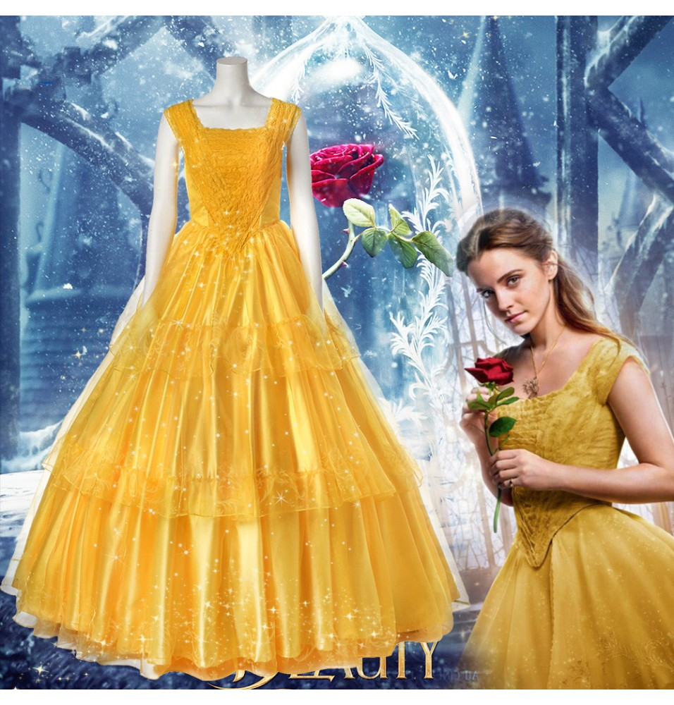 2017 Disney Beauty And The Beast Belle Dress Emma Watson Yellow Dress Deluxe