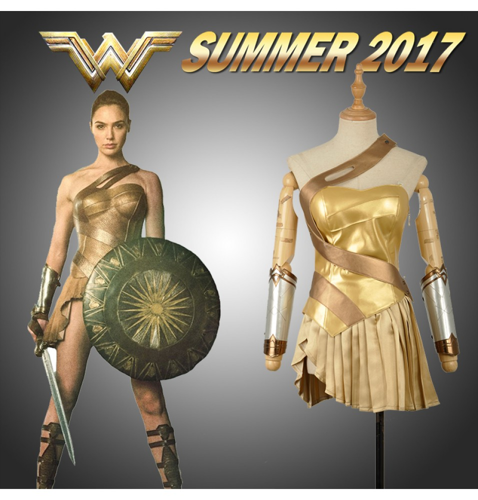 2017 New Wonder Woman Golden Dress Skirt Cosplay Costume - Deluxe Version