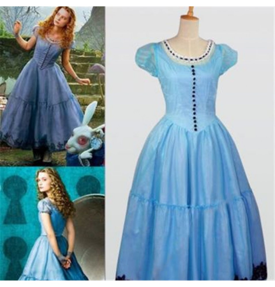 Disney Alice In Wonderland Tim Burton Blue Dress Cosplay Costume