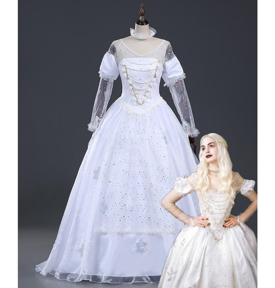 Disney Alice In Wonderland White Queen Dress Cosplay Costume