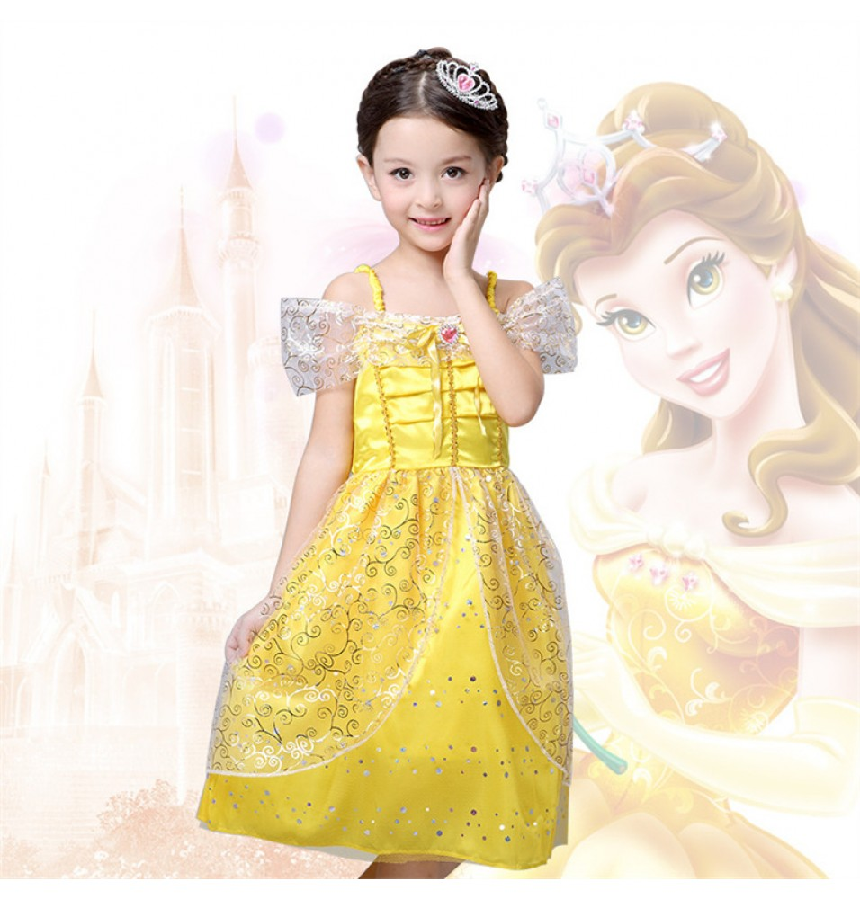 Disney Beauty and the Beast Princess Belle Girls Dress Costume For Kids