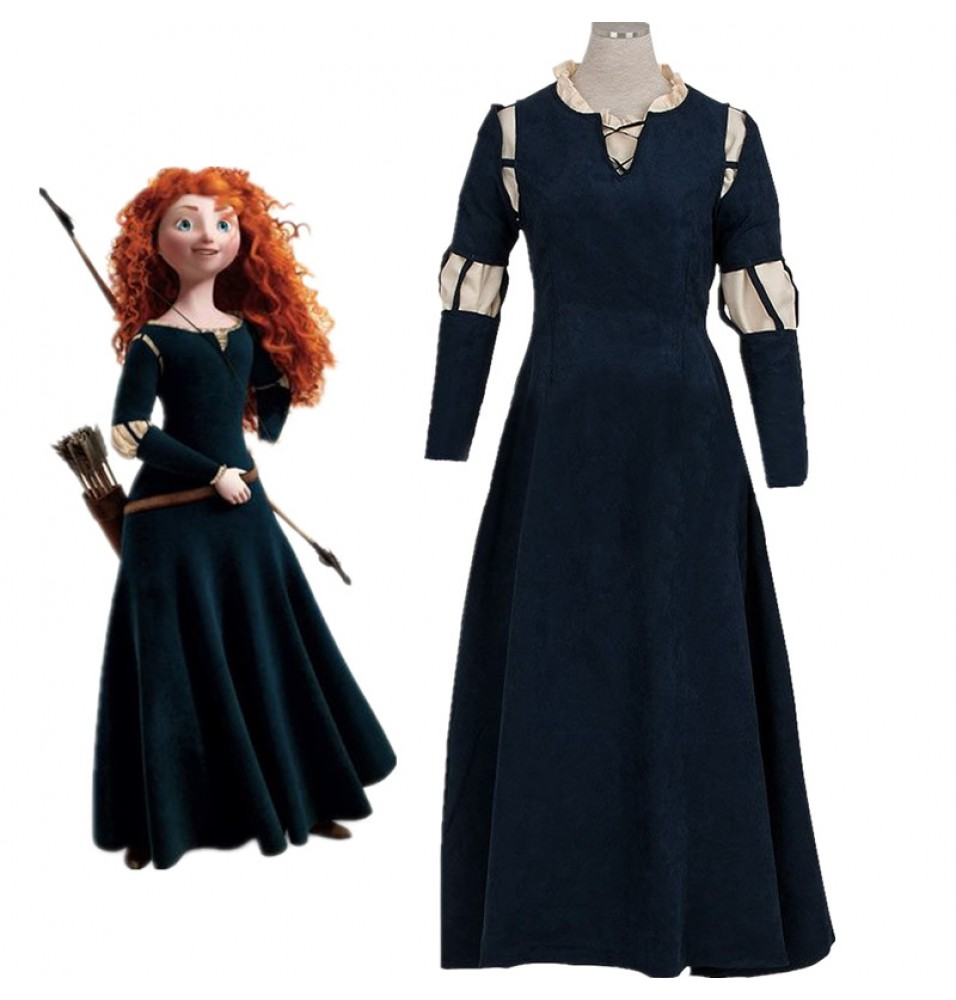Disney Brave Princess Merida Dress Cosplay Costume Gown