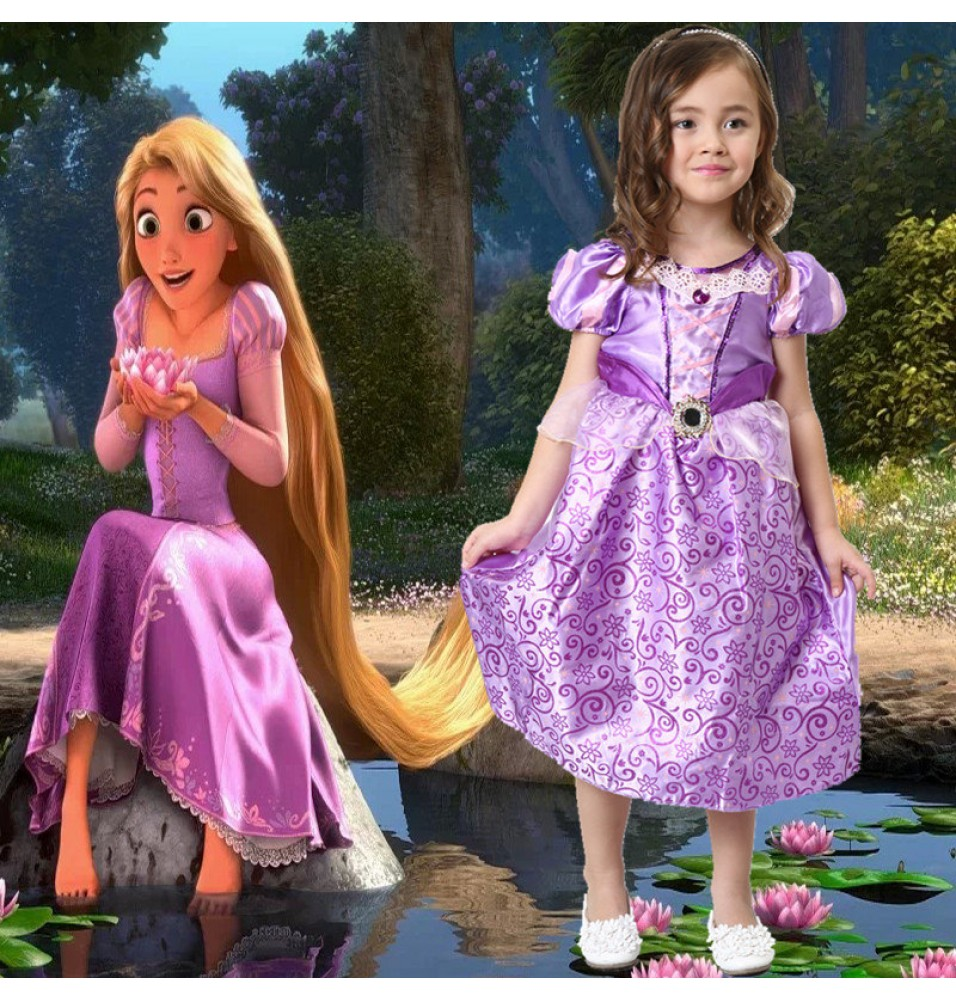 Disney Tangled Princess Rapunzel Dress Cosplay For Kids