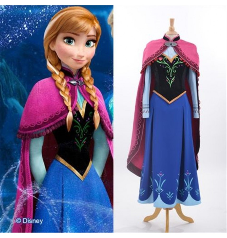 Disney Frozen Anna Cloak Dress Costume Cosplay