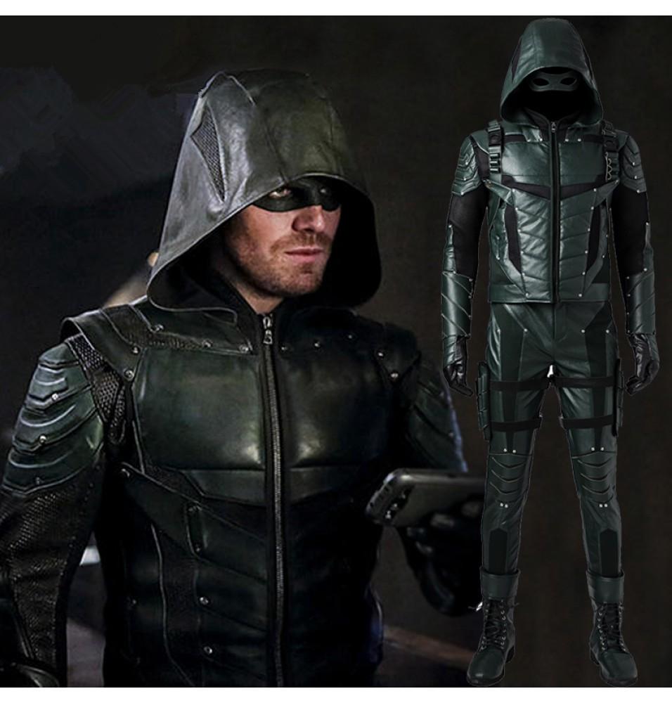 Green Arrow Season 5 Oliver Queen Arrow Cosplay Costume
