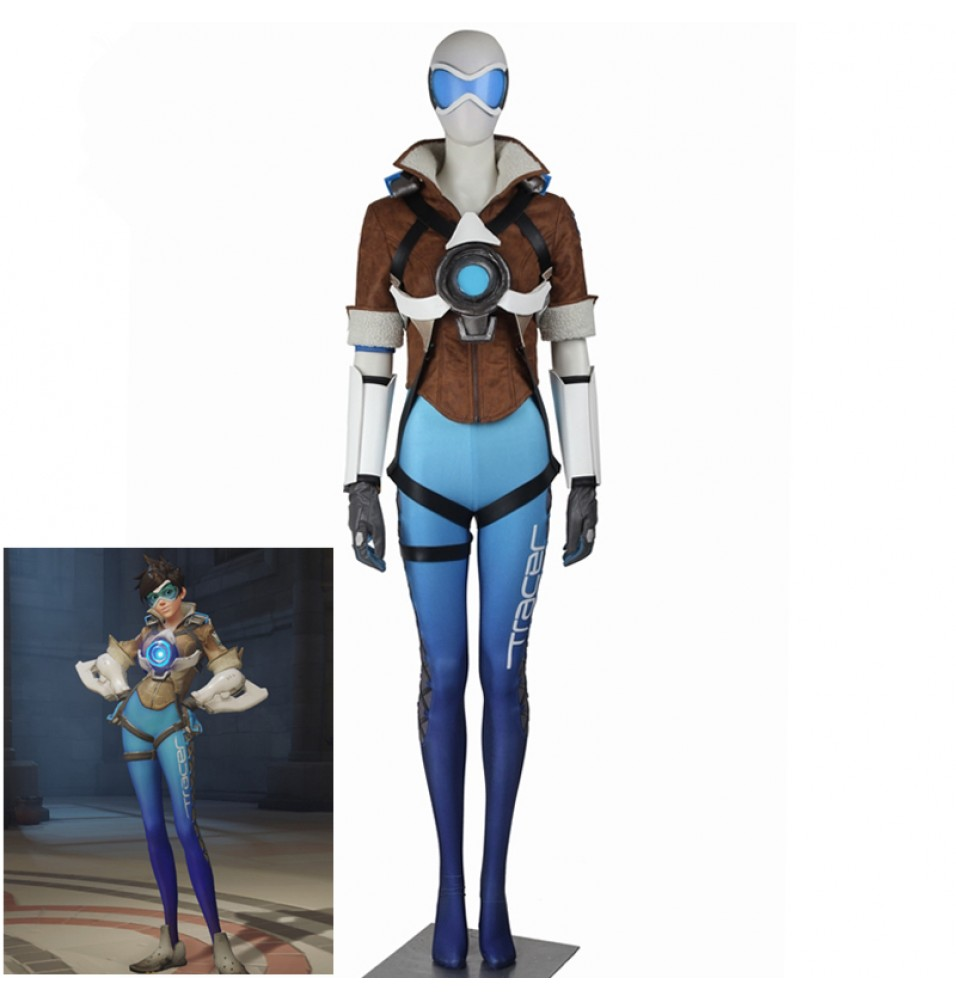 Overwatch Tracer Royal Blue Skin Cosplay Costume