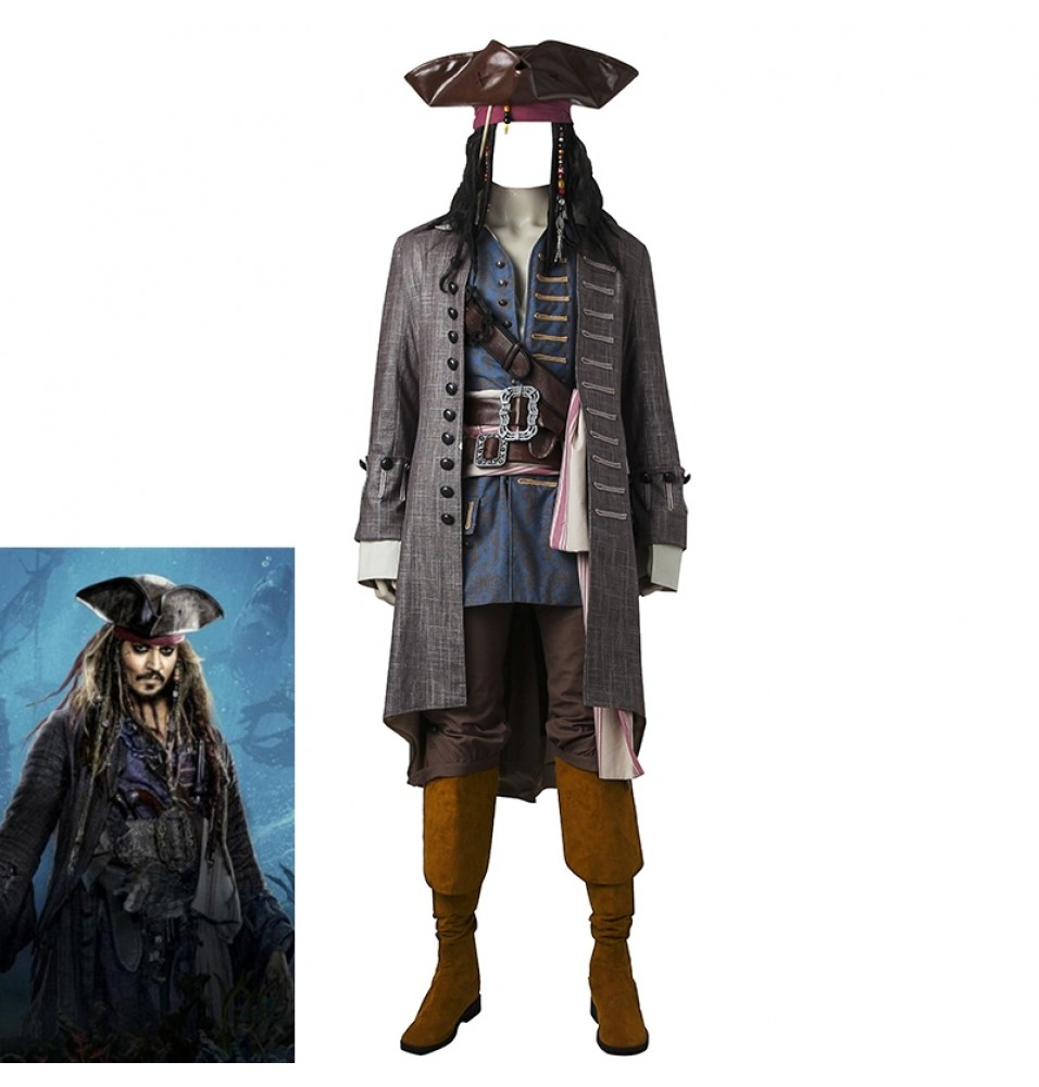 Pirates of the Caribbean Captain Jack Sparrow Cosplay Costumes Deluxe Version
