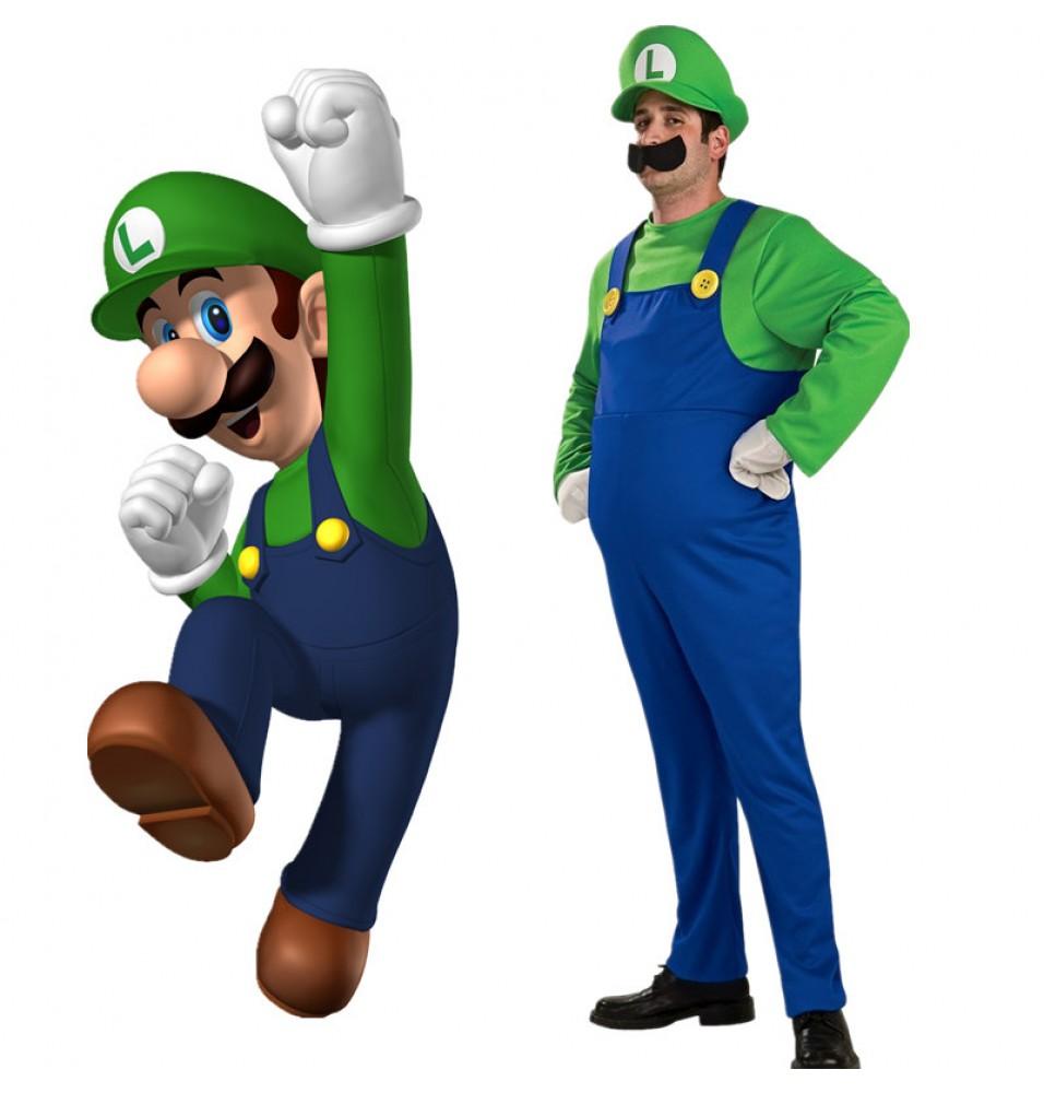 Super Mario Brothers Luigi Mario Adult Cosplay Deluxe Costume