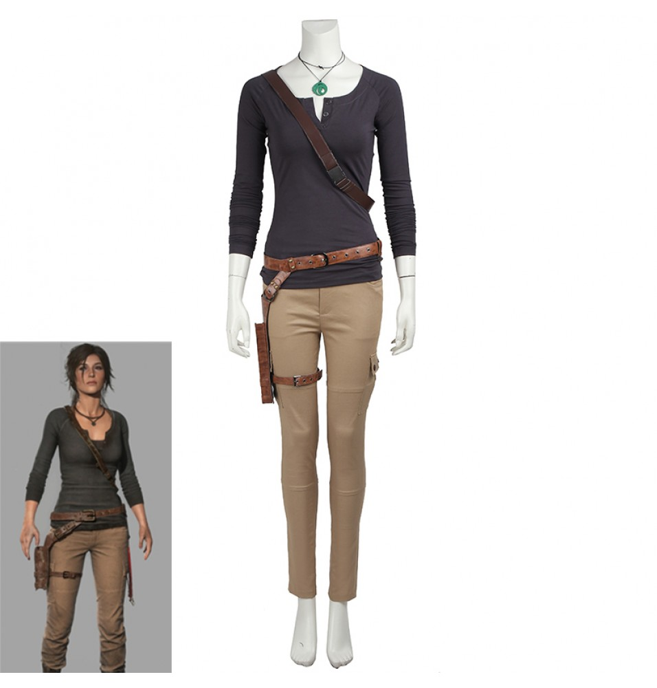 Tomb Raider Lara Croft Cosplay Costume Long Sleeve Shirt Version