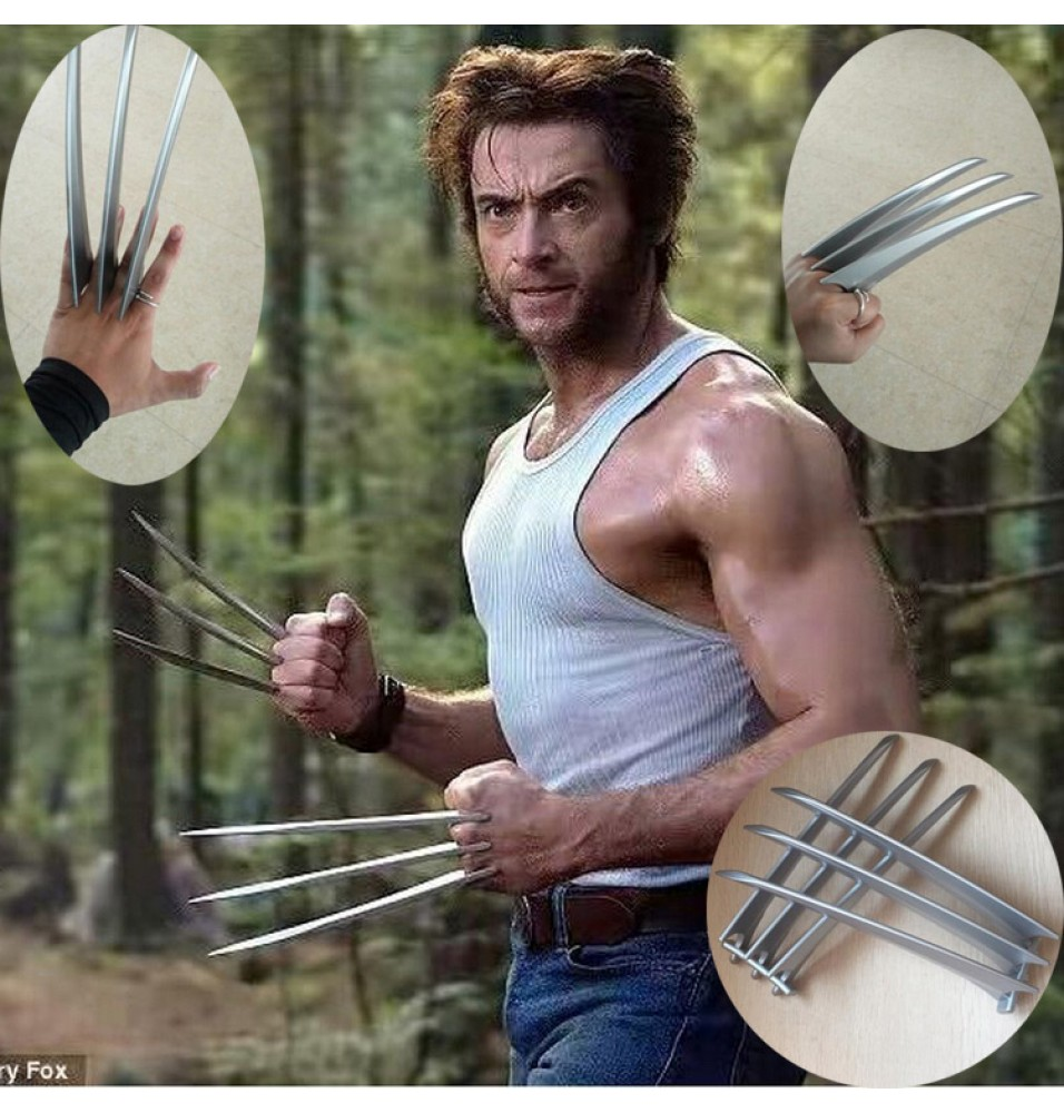 A Pair Wolverine Claws Hard Plastic Cosplay Weapons Props 2PCs