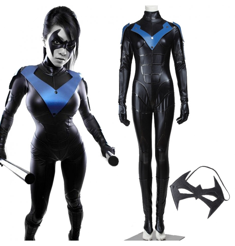 Batman Arkham City Female Nightwing Jumpsuit Cosplay Costumes