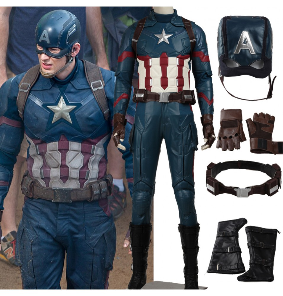 Captain America 3 Civil War Steven Rogers Cosplay Costume Deluxe