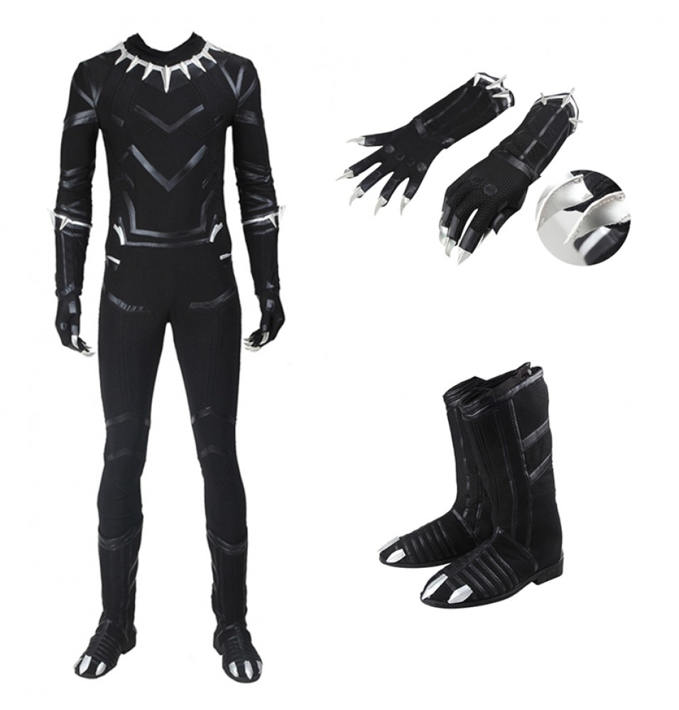 Captain America Civil War Black Panther T'Challa Cosplay Costume (Including Boots)