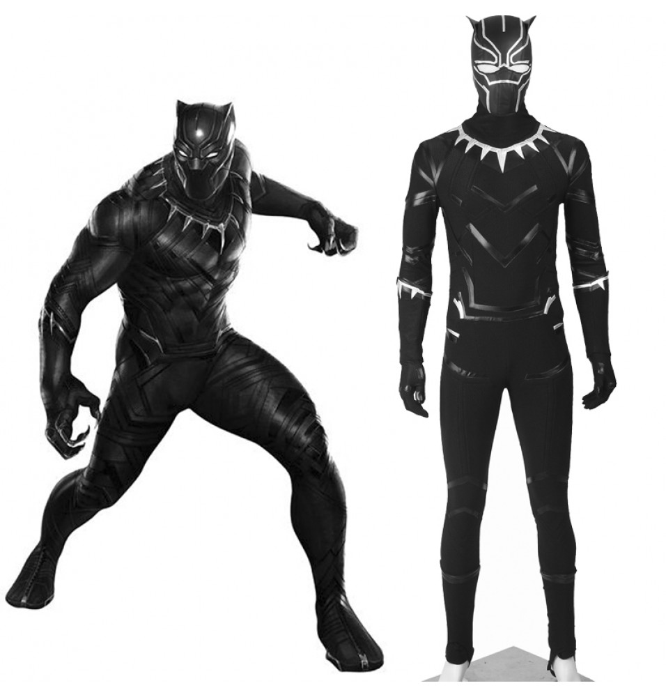 Captain America Civil War Black Panther T'Challa Cosplay Costume