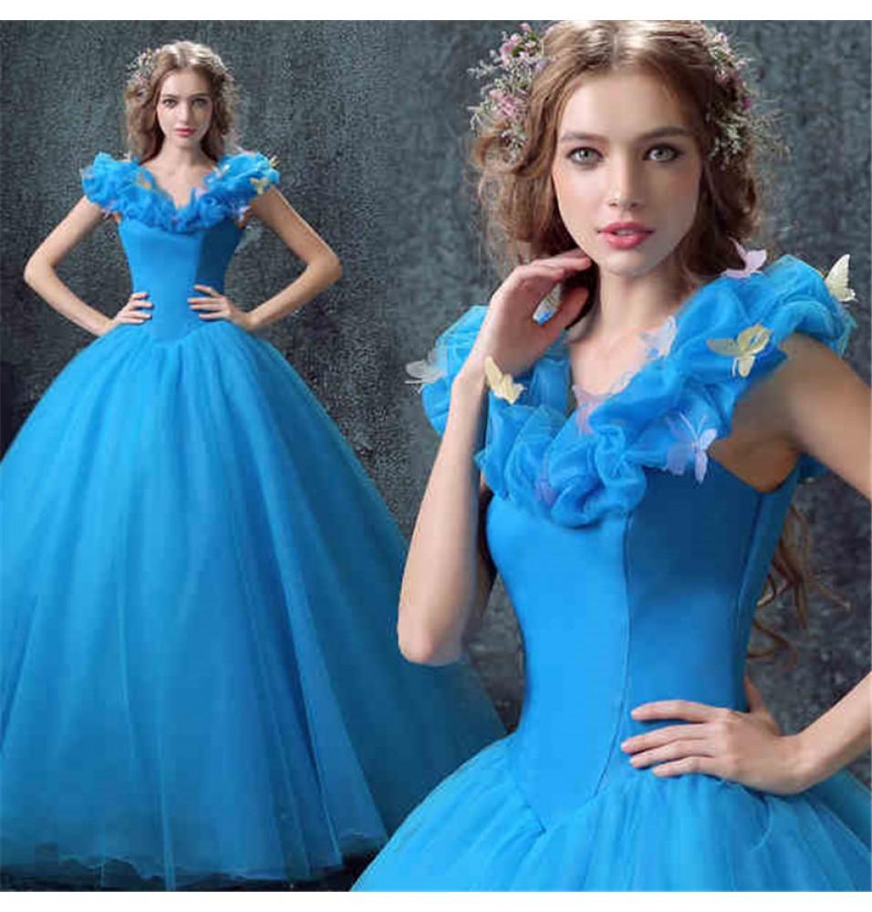 Disney Cinderella Live Action Blue Wedding Dress Cosplay Deluxe Costume