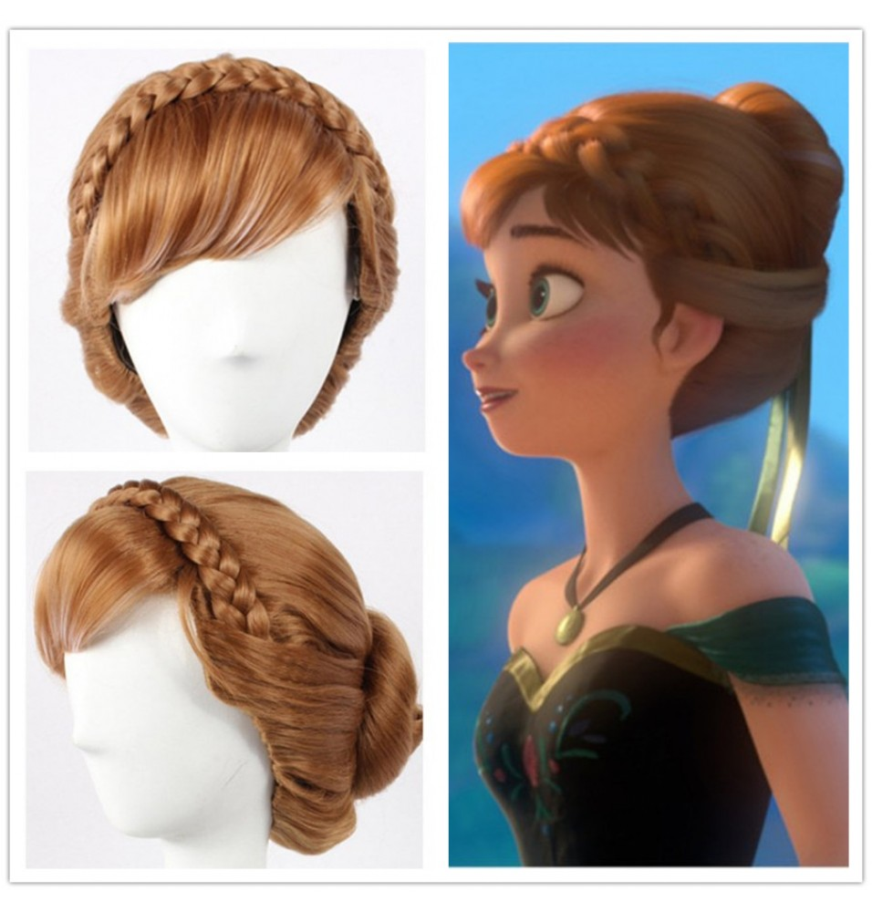 Disney Frozen Princess Anna Cosplay Updo Wigs