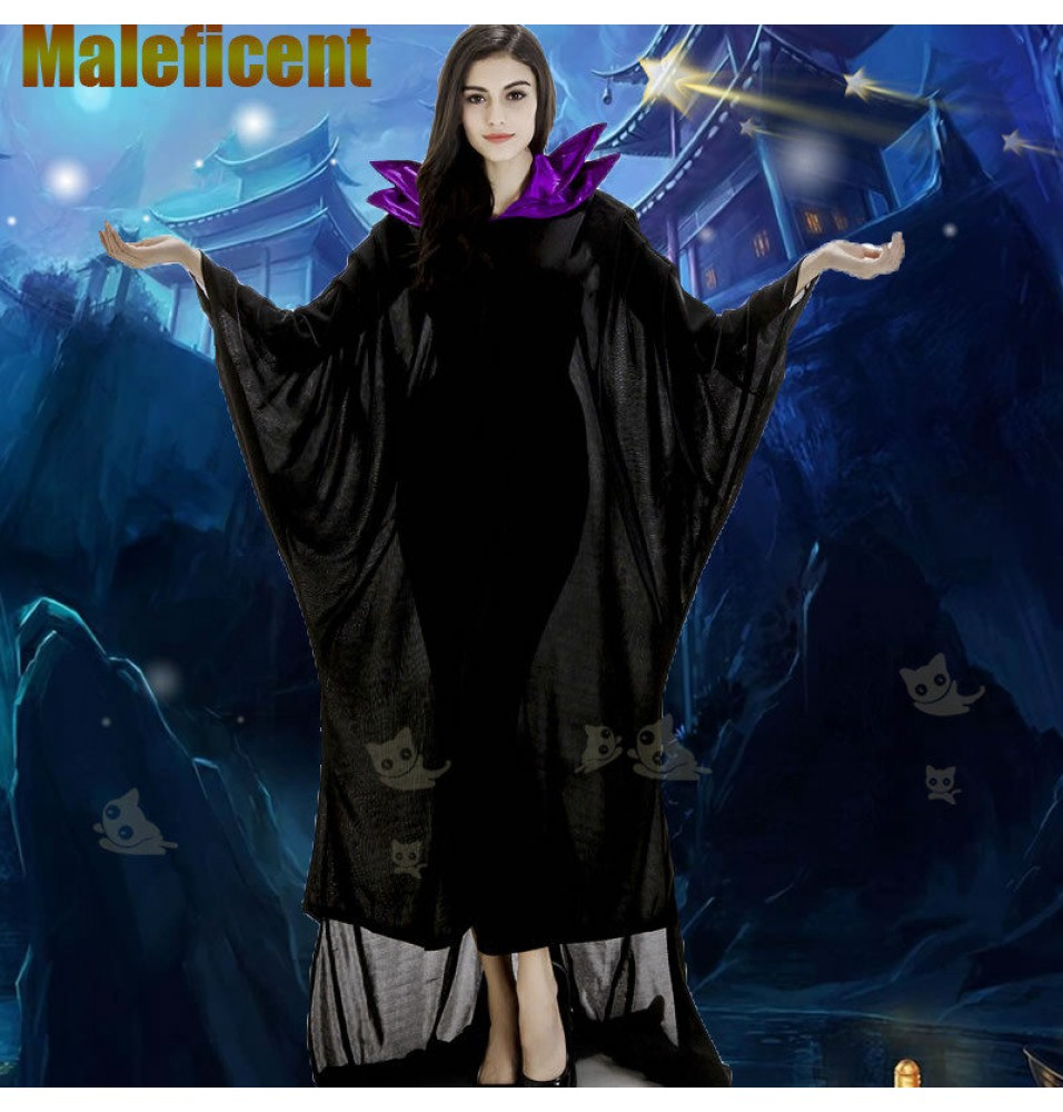 Disney Maleficent Princess Black Witch Cosplay Dress Costumes