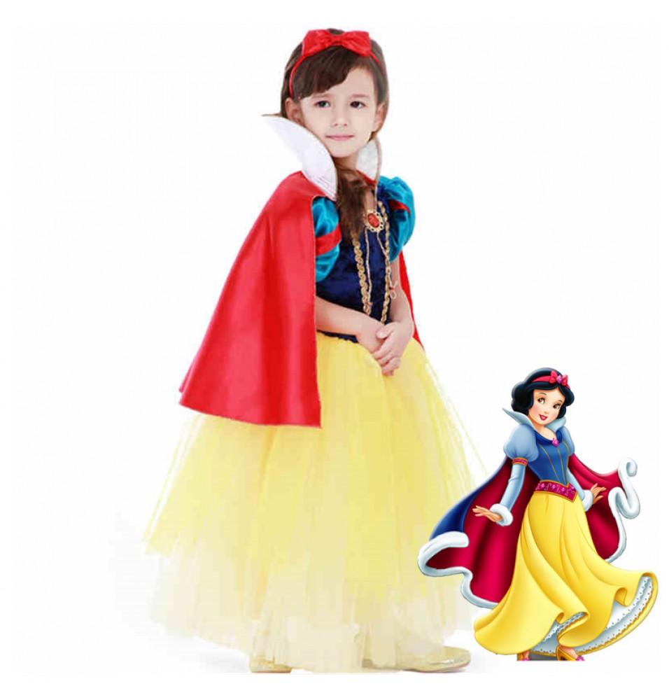 Disney Snow White Princess Girls Dress Costume Cosplay For Kids