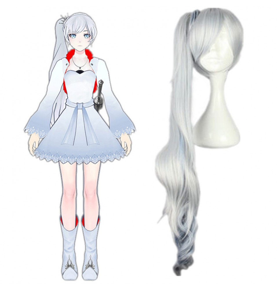 RWBY White Trailer Weiss Schnee Long Ponytail Cosplay Wigs