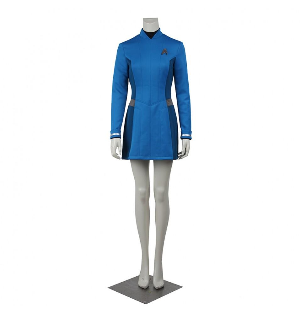Star Trek Beyond Carol Marcus Blue Dress Cosplay Costume Uniform