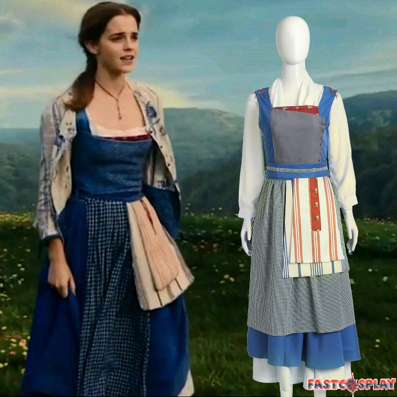 c2e3d46a9aa 2017 Disney Beauty and the Beast Princess Belle Blue Dress Belle Maid  Costume