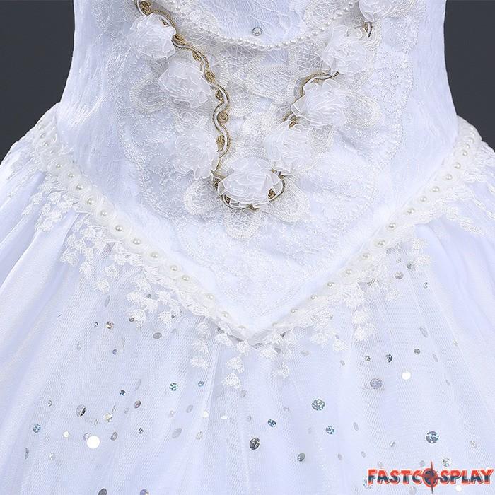 Alice In Wonderland White Queen Dress Cosplay Costume