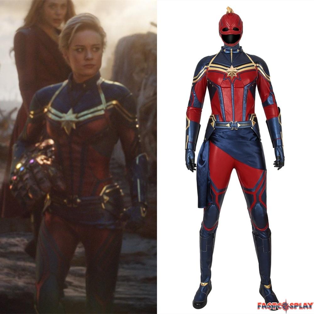 Avengers Endgame Captain Marvel Cosplay Costume Marvel captain marvel girls costume dress xs 4/5 blue gold new. avengers endgame captain marvel cosplay costume