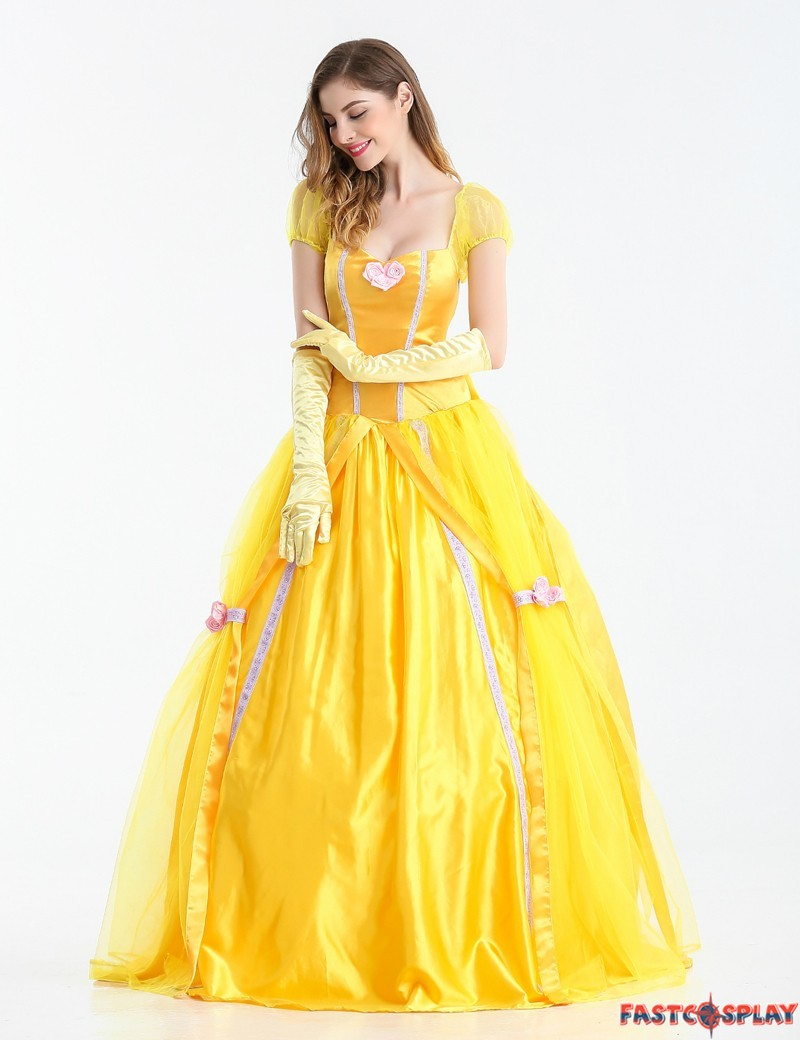 Beauty and The Beast Adult Princess Belle Costume Yellow Long Dress