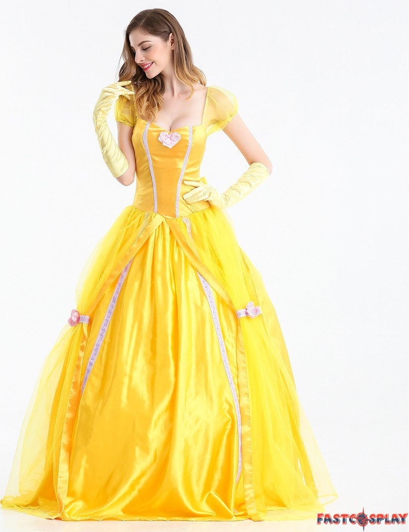 ... Disney Beauty and The Beast Adult Princess Belle Costume Yellow Long Dress ...  sc 1 st  FastCosplay & Beauty and The Beast Adult Princess Belle Costume Yellow Long Dress
